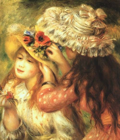 Pierre-Auguste Renoir. Girl decorating hats with flowers, 1890