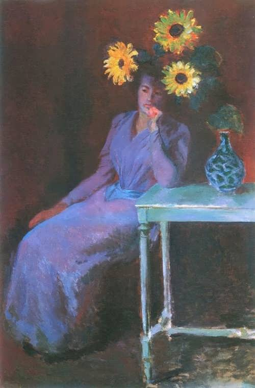 Portrait of Suzanne Hoschede with Sunflowers, 1890. Claude Monet