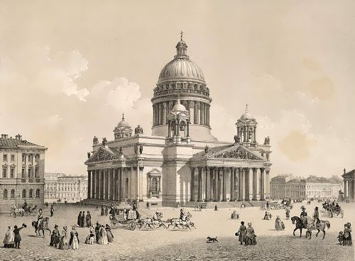 Saint Isaac's Cathedral. Lithograph by F. Benoit