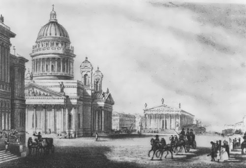 Saint Isaac's Cathedral. Lithograph by Montferrand
