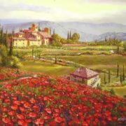 Sam Park. Field of Poppies in Tuscany