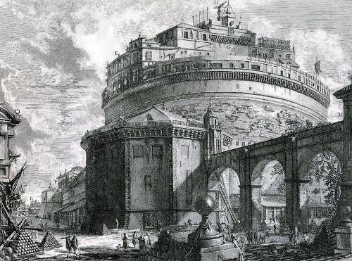 Sant'Angelo Castle on Piranesi engraving, XVIII century