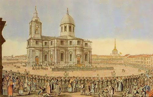 Solemn return of Petersburg Militia on St. Isaac's Square. Engraving by I. Ivanov. 1816