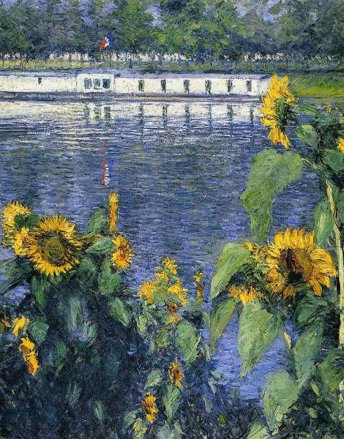 Sunflowers on the Banks of the Seine, 1886 by Gustave Caillebotte