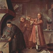 Three alchemists at work