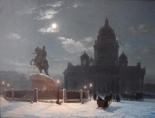 V. Surikov. View of the monument to Peter I on the Senate Square