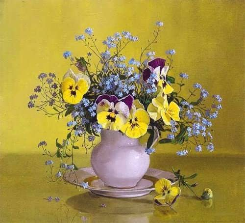 A. Efremov. Pansies and forget-me-nots