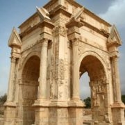 Arch of Septimius Severus. Erected in honor of the twentieth Roman emperor Septimius Severus, who was born in Leptis