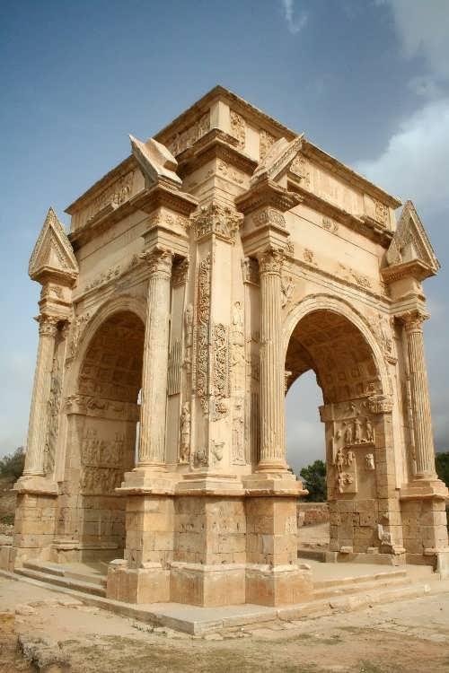 Arch of Septimius Severus. Erected in honor of the twentieth Roman emperor Septimius Severus, who was born in Leptis