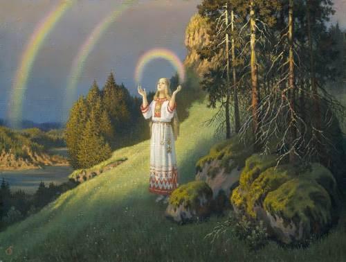 Boris Olshansky. Volkhov with a rainbow. 2002