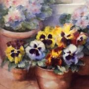 Karen Armitage. Pansies in a Conservatory