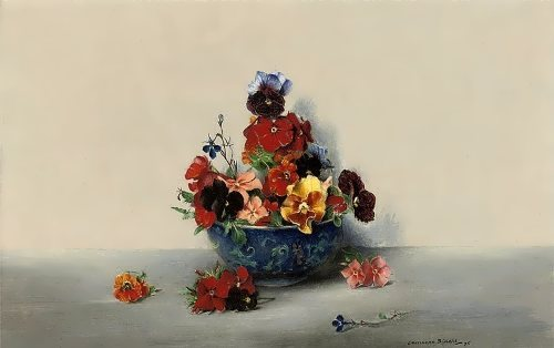 Laurence Biddle. Pansies in a blue bowl