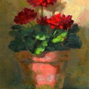 Linda's Witness in Art. Geraniums in Ligh