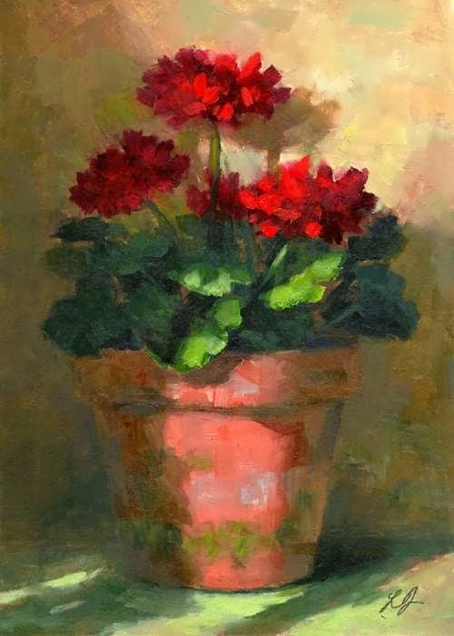 Linda's Witness in Art. Geraniums in Ligh