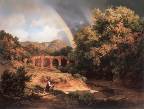 Marco Karoly the Elder. Italian Landscape with Viaduct and Rainbow, 1838