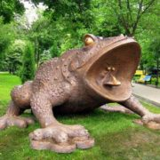 Monument to frog in Kiev