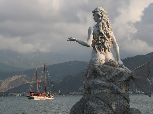 Monument to the mermaid in Fethiye, Turkey