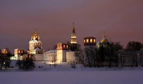 Novodevichy Convent at night