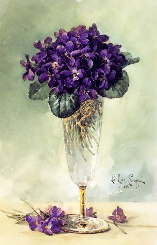 Paul de Longpri, Violets in a Glass, 1896