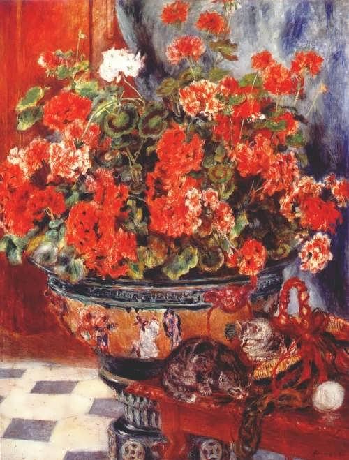 Pierre-Auguste Renoir. Geraniums and cats, 1881