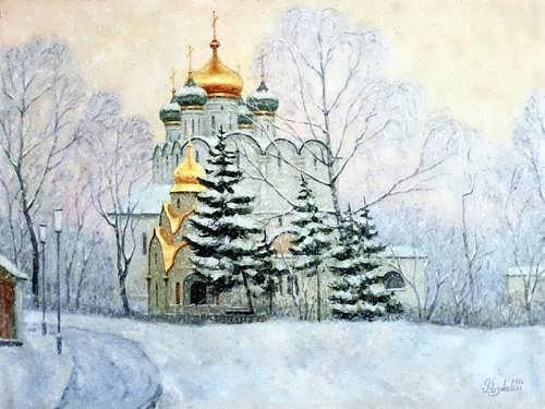 Razzhivin Igor. Novodevichy monastery under the snow