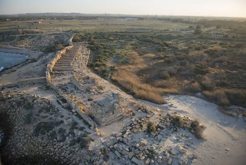 Ruins of breakwater and walls of the Byzantine Empire in the ancient city of Leptis Magna