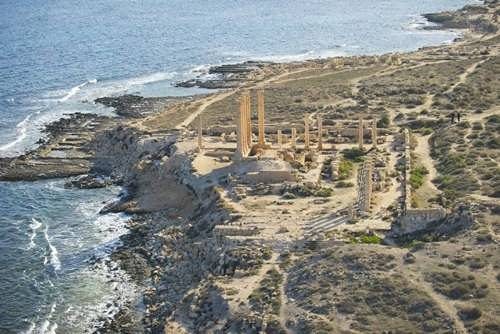 Ruins of the Temple of Isis in Sabratha on the Mediterranean coast