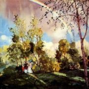 Somov Konstantin. Landscape with a rainbow. 1915