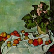 Still Life With Fruit Geraniums Stock. Paul Cezanne