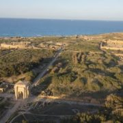The ancient city of Leptis Magna, founded around 1100 BC as a Phoenician colony