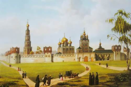 Unknown artist. Novodevichy Convent. Panorama of Moscow in the 19th century