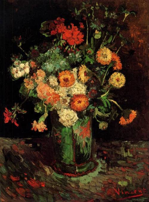 Vase With Zinnias And Geraniums. Vincent van Gogh