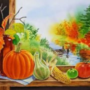 Irina Sztukowski. Pumpkin on the window.