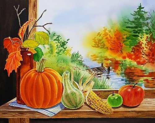Irina Sztukowski. Pumpkin on the window.