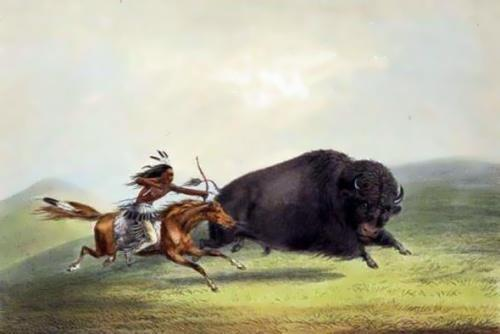 Native American is hunting