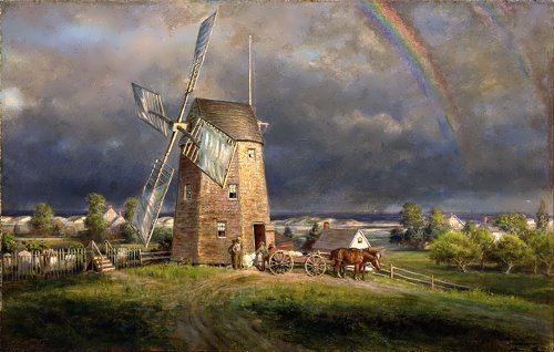 Old Hook Mill, Easthampton, Edward Lamson Henry.