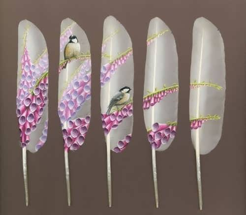 Pictures on swan feathers by Ian Davie