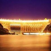 Sayano-Shushenskaya HPP at night