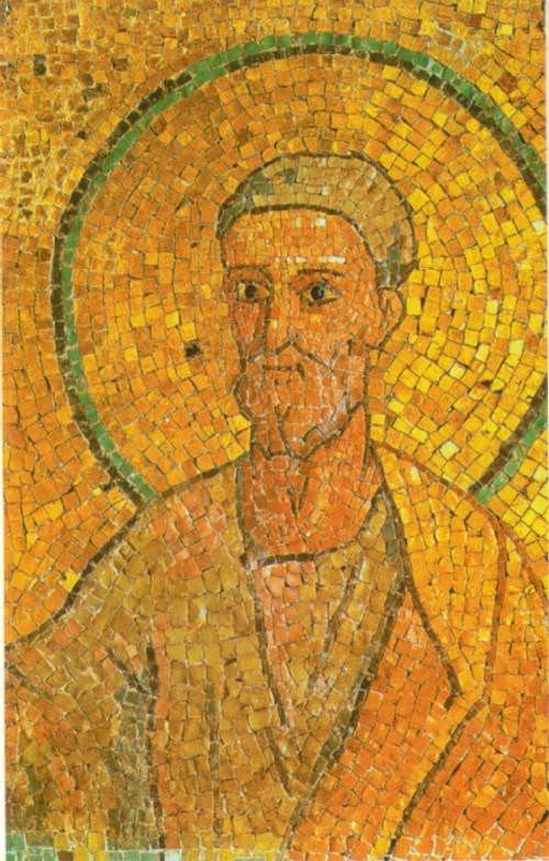 St. Peter. Fragment of a mosaic from the crypt of St. Peter. 700
