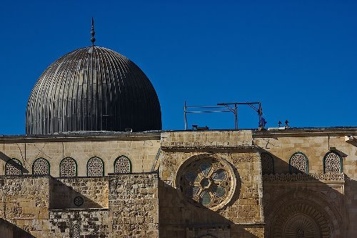 The Al-Aqsa Mosque. It is the third shrine of Islam after the al-Haram mosque in Mecca and the Prophet's Mosque in Medina