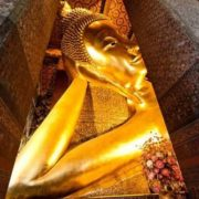 The reclining Buddha is a huge 46-meter-long gold leaf-covered statue