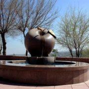 An apple monument in Almaty, Kazakhstan