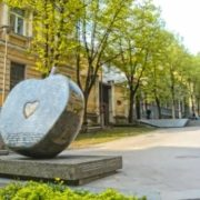 An apple monument in Vilnius, Lithuania