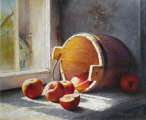 Dmitry Annenkov. Bucket with apples