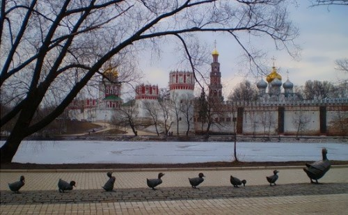 Monument to the duck with ducklings in Moscow