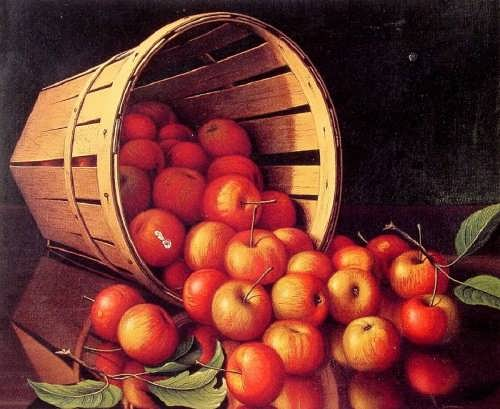Prentice, Levi Wells . Apples Tumbling From A Basket