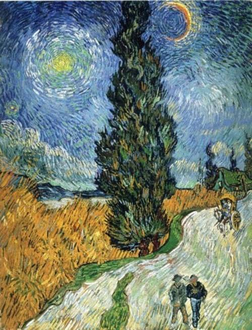 Road with cypress and star by Van Gogh