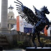 Statue of Pegasus made from smartphones