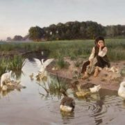 The girl and geese