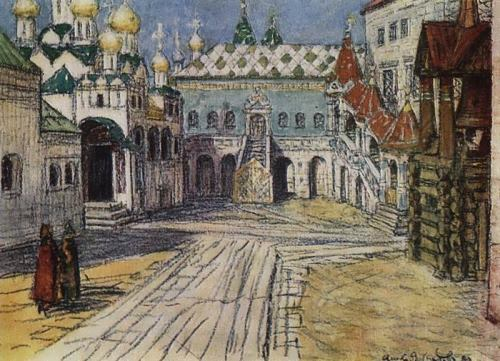 The royal platform and the Red Porch of the Faceted Chamber in the Kremlin. 1904
